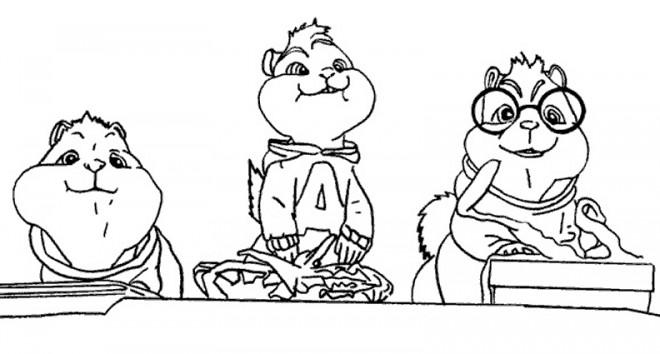 Coloriage chipmunks entrain de manger dessin gratuit imprimer - Coloriage alvin et les chipmunks simon ...