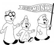Coloriage et dessins gratuit Chipmunks facile à colorier à imprimer