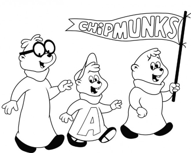 Coloriage et dessins gratuits Chipmunks facile à colorier à imprimer