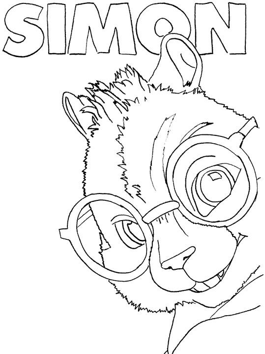 Coloriage et dessins gratuits Chipmunks Simon à imprimer