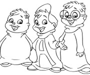 Coloriage Chipmunks simple à colorier