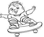 Coloriage Chipmunks Theo en skate