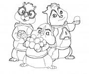 Coloriage et dessins gratuit Les trois Chipmunks à imprimer