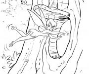 Coloriage Fée Clochette dans L'Arbre