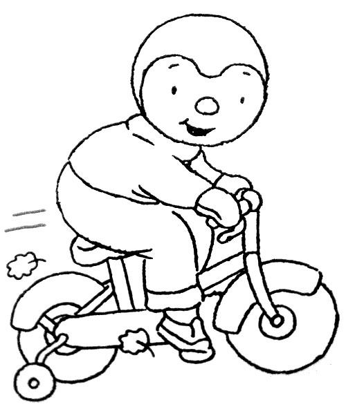 Coloriage et dessins gratuits Dessin Tchoupi vélo à imprimer