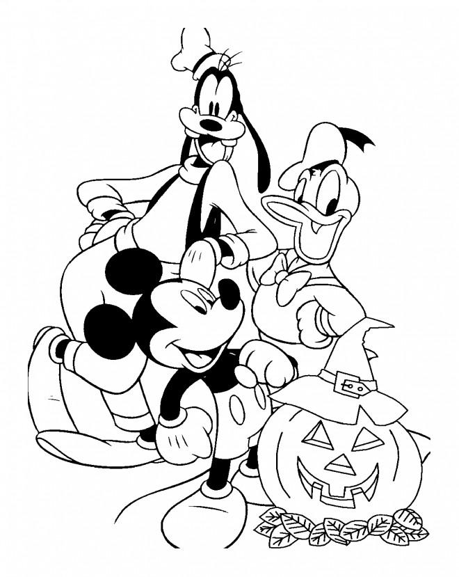 Coloriage et dessins gratuits Donald, Dingo et Mickey en Halloween à imprimer