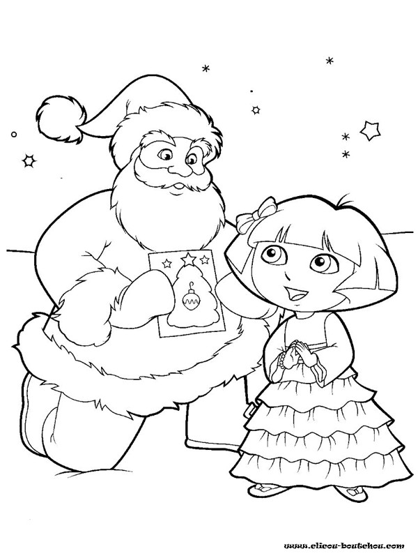 Coloriage et dessins gratuits Dora de Noël à imprimer