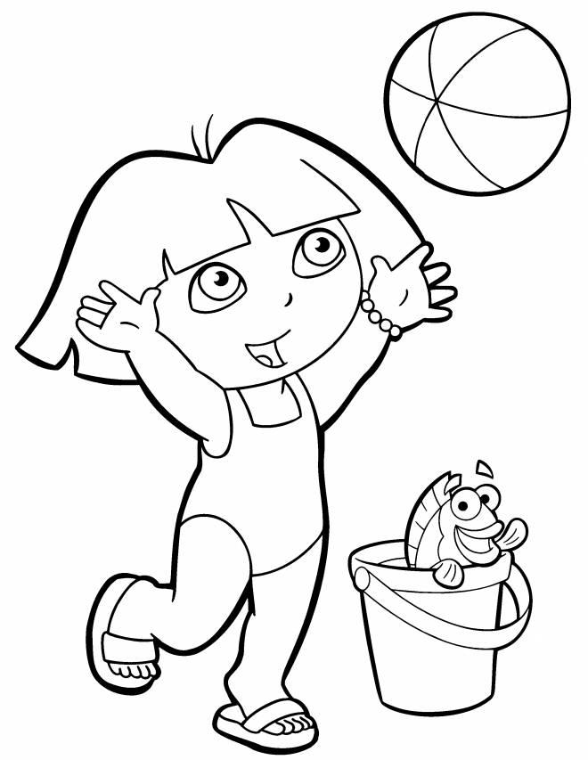 Coloriage Dora et son ballon de plage dessin gratuit à ...