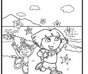 Coloriage Dora à la plage