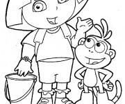 Coloriage Dora a une idée