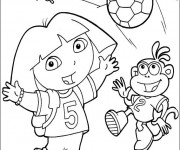 Coloriage Dora aime le football