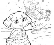 Coloriage Dora attend le père Noël