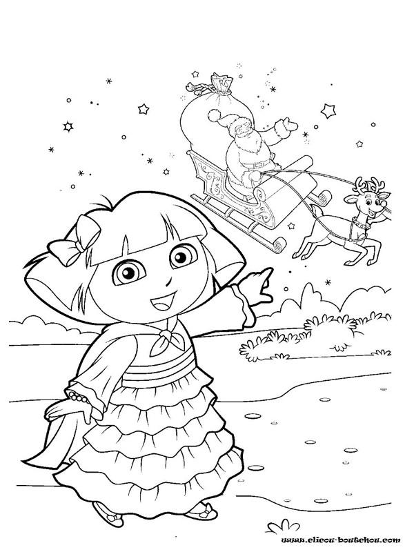 Coloriage et dessins gratuits Dora attend le père Noël à imprimer