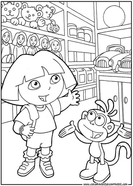 Coloriage et dessins gratuits Dora au coeur de ville à imprimer