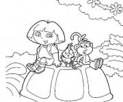 Coloriage Dora avec ses amis