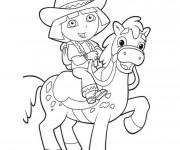Coloriage et dessins gratuit Dora avec un cheval à imprimer