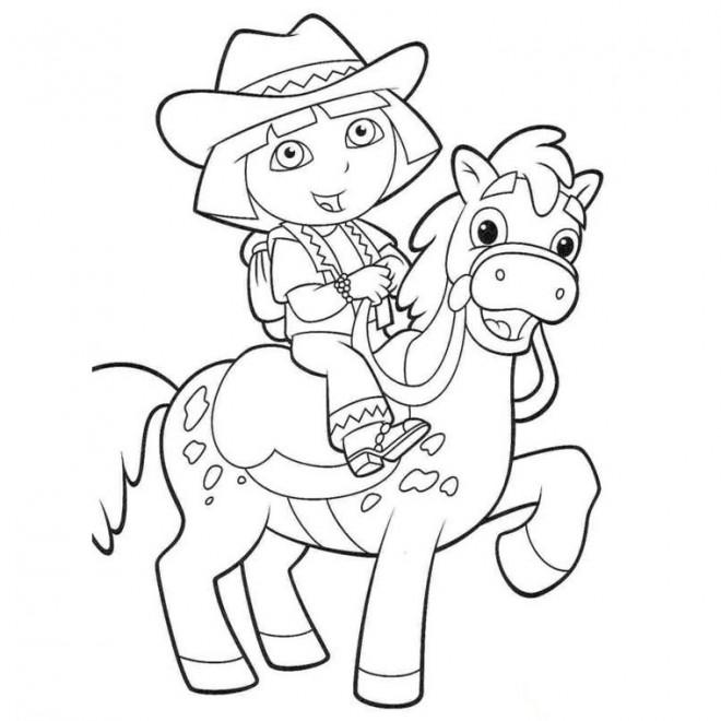 Coloriage et dessins gratuits Dora avec un cheval à imprimer