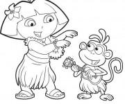 Coloriage Dora danse à la musique de Hawaii