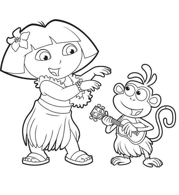 Coloriage et dessins gratuits Dora danse à la musique de Hawaii à imprimer