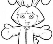 Coloriage Dora déguisé en un lapin