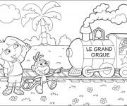 Coloriage Dora devant le train du cirque