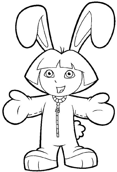 Coloriage Dora En Costume De Lapin Dessin Gratuit A Imprimer