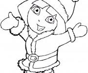Coloriage Dora en hiver