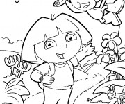 Coloriage Dora en nature
