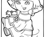 Coloriage Dora en robe dessin animé