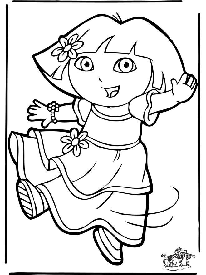 Coloriage Dora En Robe Dessin Anime Dessin Gratuit A Imprimer