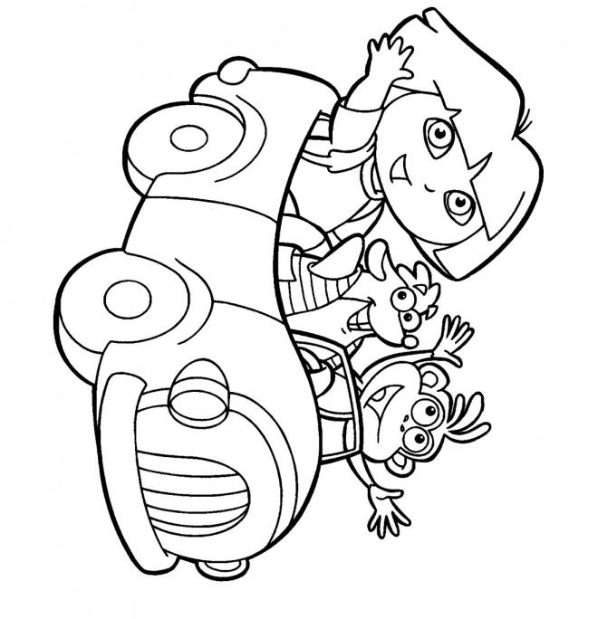 Coloriage et dessins gratuits Dora en voiture à imprimer