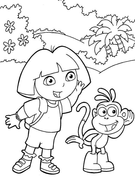 Coloriage Dora entrain d'écouter dessin gratuit à imprimer