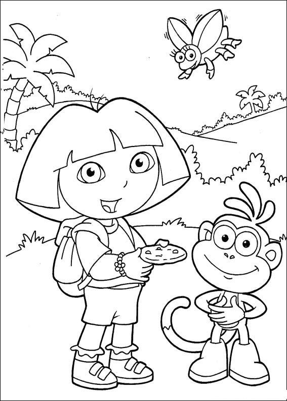 Coloriage et dessins gratuits Dora entrain de manger à imprimer