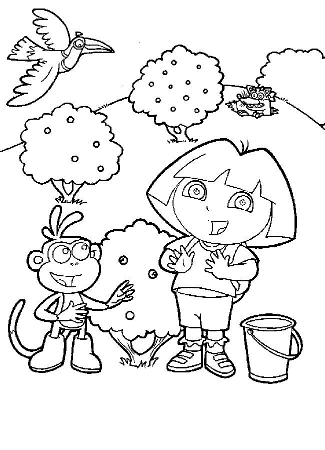 Coloriage dora et babouche en ligne dessin gratuit imprimer - Dessin anime dora exploratrice gratuit ...