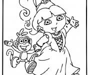 Coloriage Dora et babouche partent pour une fête