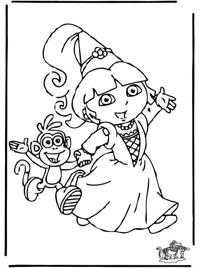 Coloriage et dessins gratuits Dora et babouche partent pour une fête à imprimer