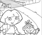 Coloriage Dora et Babouche traverse le pont