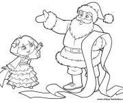 Coloriage Dora et père Noël