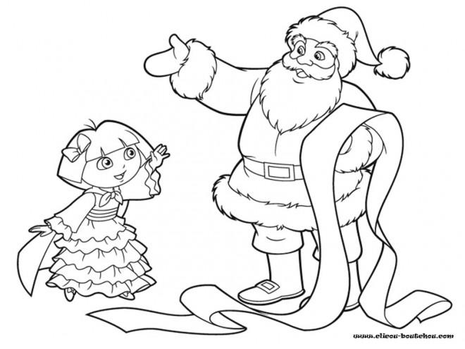 Coloriage Dora et père Noël dessin gratuit à imprimer