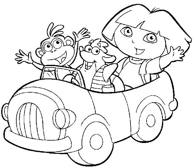 Coloriage Dora Et Ses Amis En Voiture Dessin Gratuit A Imprimer