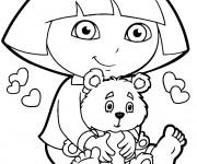 Coloriage Dora et son nounours