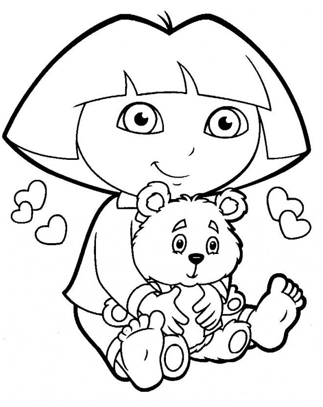 Coloriage et dessins gratuits Dora et son nounours à imprimer