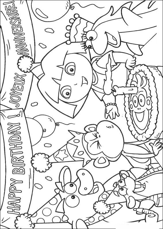 Coloriage et dessins gratuits Dora l'anniversaire à imprimer
