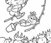 Coloriage Dora l'aventurière et babouche