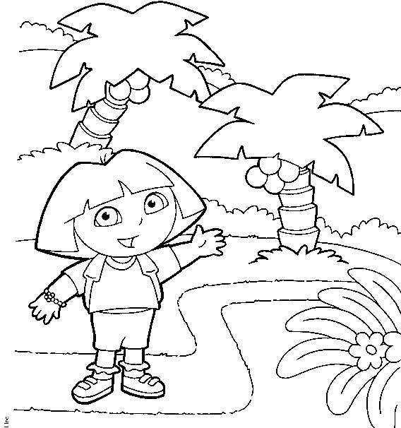 Coloriage et dessins gratuits Dora montre le chemin à fréquenter à imprimer