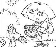 Coloriage Dora offre un cadeau à Babouche