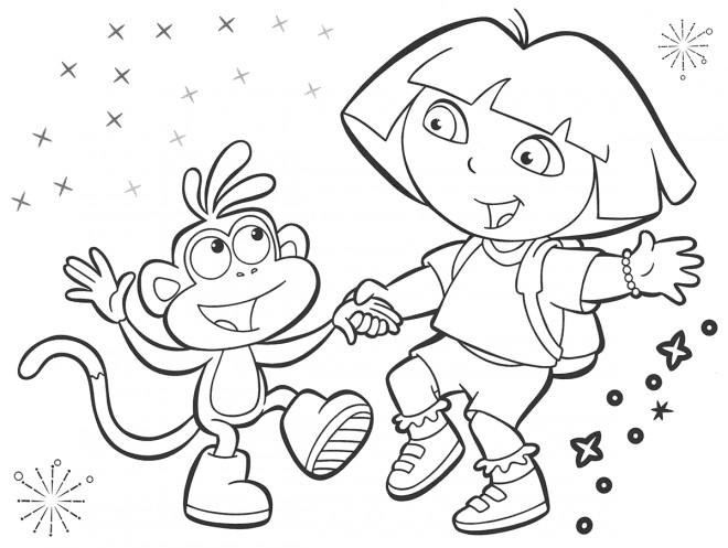Coloriage et dessins gratuits Dora s'amuse avec Babouche à imprimer