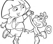 Coloriage Dora s'est mis d'accord avec Babouche