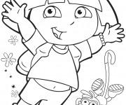 Coloriage Dora saute de joie