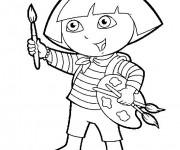 Coloriage Dora tient un pinceau de peinture